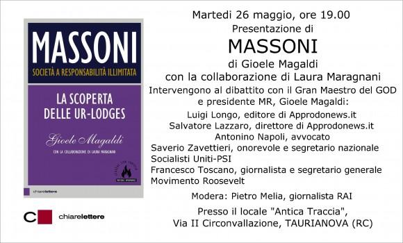 """""""Massoni"""" il libro di Gioele Magaldi sbarca a Taurianova"""