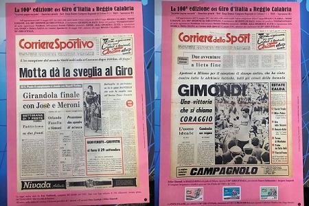 """La 100^ edizione del Giro d'Italia fa tappa a Reggio L'11 maggio il via. Nella foto una storica immagine del """"Corriere Sportivo"""" del 28 maggio 1967 racconta la tappa Reggio Calabria-Cosenza del 50° Giro"""